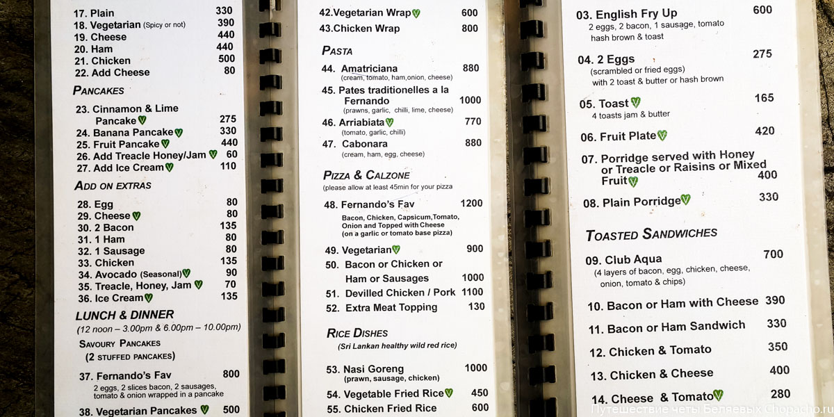 Restaurants prices
